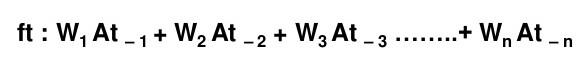 fórmula del promedio móvil ponderado