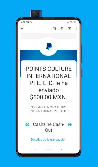 Comprobante de pago de Cashzine 2021