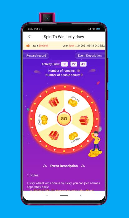Ganar dinero con la ruleta de la suerte (spin to win) en la aplicación Cashzine