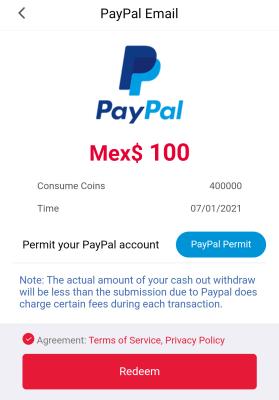 Cobrar 100 pesos de cashzine