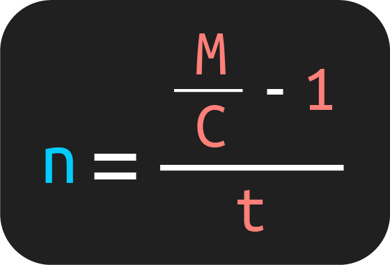 fórmula para calcular el tiempo a partir de la fórmula de monto