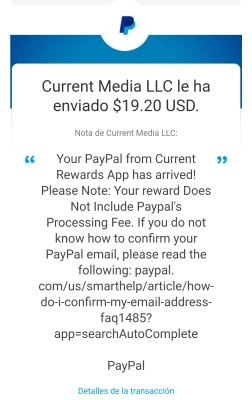 Comprobante de pago de Current cash rewards 2021