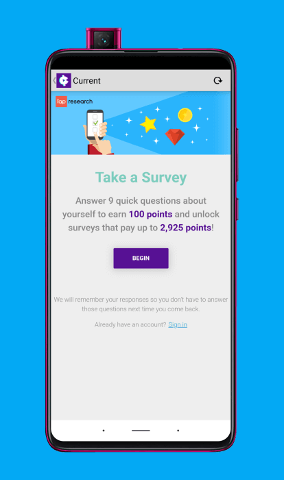 Ganar dinero haciendo encuestas con Current cash rewards