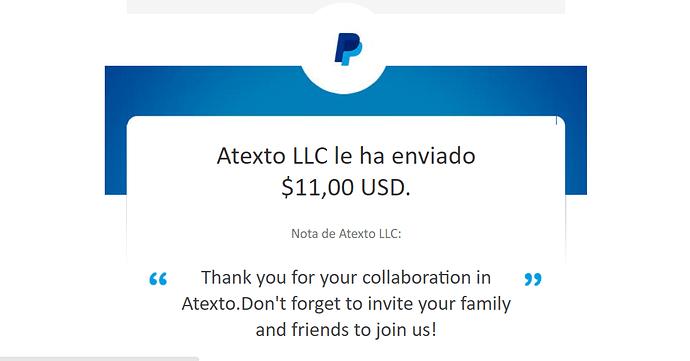 Comprobante de pago de Atexto de usuarios