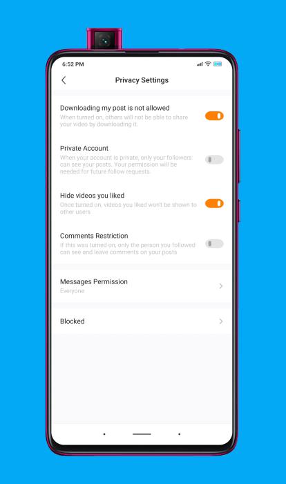 opciones de privacidad que tiene la aplicación de Kwai